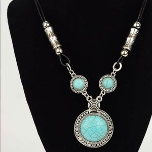 Turquoise and Silver Pendant Corded Necklace